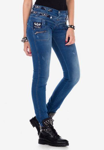 Cipo & Baxx Slim-fit-Jeans mit auffälligem Dreifachbund in Slim Fit