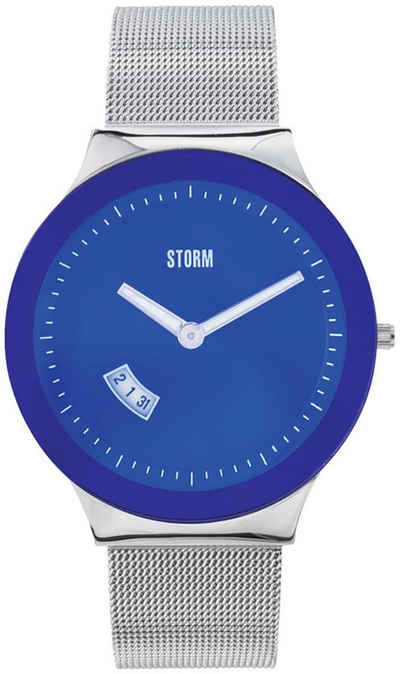 STORM Quarzuhr »UST47075/B0 Storm Herren Armbanduhr«, (Analoguhr), Herrenuhr rund, groß (ca. 42mm), Edelstahl, Edelstahlarmband, Luxus-Style