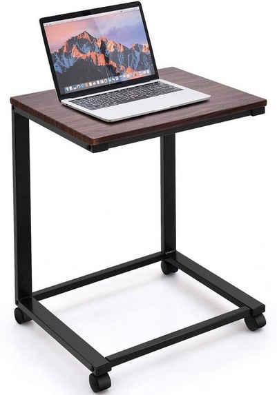COSTWAY Laptoptisch »Beistelltisch Sofatisch Ablagetisch«, mit Rollen, Metall + Holz