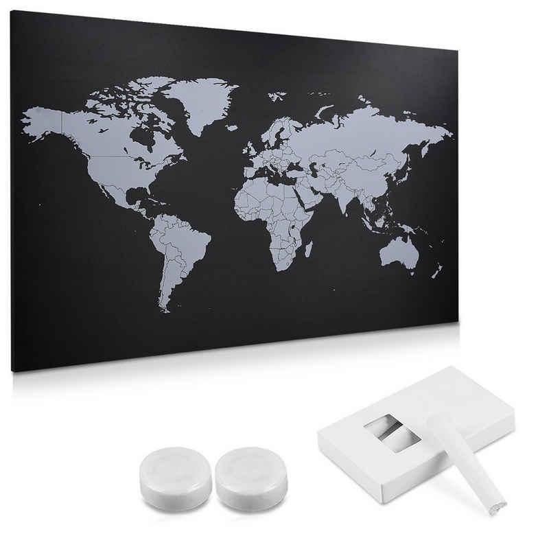 Navaris Wandtafel, magnetische Kreidetafel Weltkarte 60x40cm - World Map Wand Tafel abwischbar inkl. 4x Kreide 2x Magnete Befestigung - Magnetwand