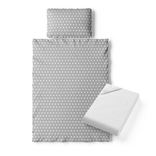 Kinderbettwäsche »140x70cm Bettset Bettbezug Laken 3 Teilig Grau Sterne«, VitaliSpa®
