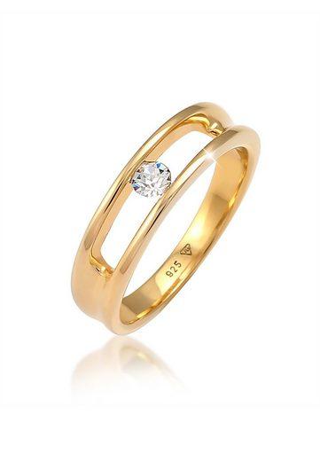 Elli Fingerring »Kristalle Klassisch 925 Silber«, Solitär-Ring