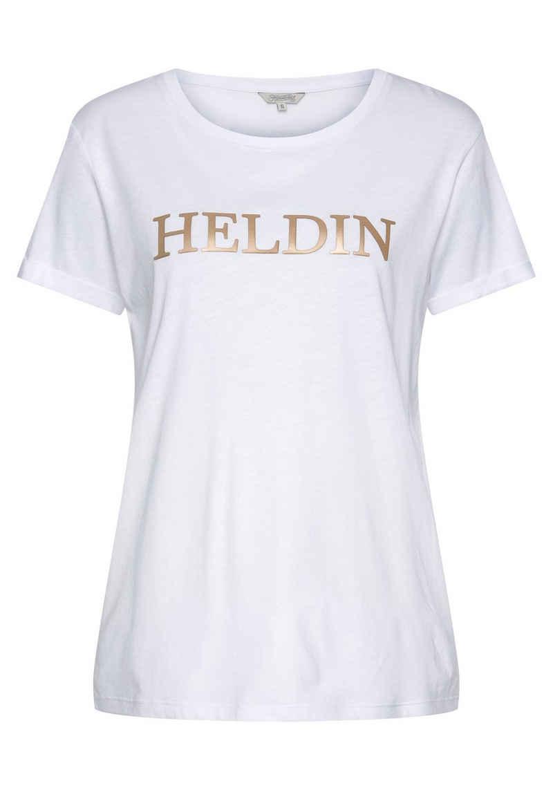 """Herrlicher T-Shirt »KENDALL« mit goldfarbigem """"Heldin"""" Statement Frontprint"""