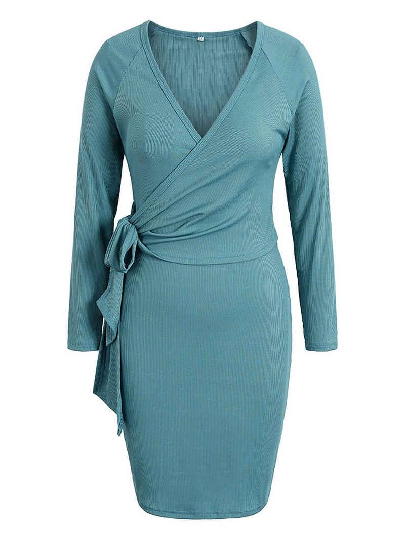LAPA Strickkleid »LAPA Damenkleid, Langarmkleid, V-Ausschnitt, schmale Passform«