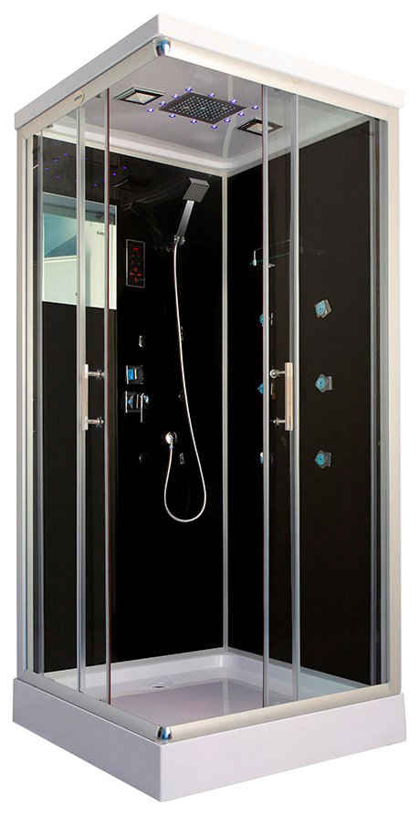 HOME DELUXE Komplettdusche »Wave M«, BxT: 90x90 cm, Sicherheitsglas, 1-tlg., mit LED-Beleuchtung und Radio