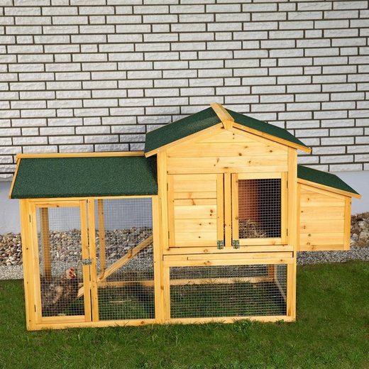 Mucola Hühnerstall »Hühnerstall Hühnerhaus Kaninchenkäfig Hasenstall Kaninchenstall Freilaufgehege Geflügelstall Hühnervoliere«, 168x103x75 cm