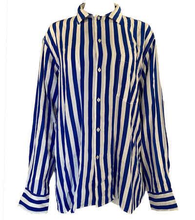 Replay Hemdbluse »REPLAY Kent Kragen-Bluse gestreifte Damen Hemd-Bluse mit langen Armen Freizeit-Bluse Blau/Weiß«