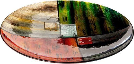 GILDE GLAS art Dekoschale »Mirano 1«, handbemalt mit Fusingglas-Elementen
