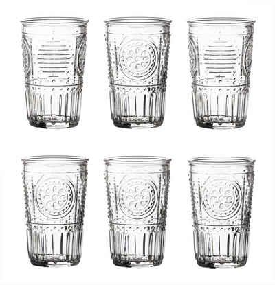 Bormioli Rocco Gläser-Set »6x Trinkgläser 340 ml − Gläser mit Verzierungen − Spülmaschinenfest − Saftgläser, Wassergläser, Longdrinkgläser«, Glas