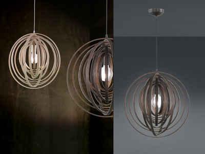 meineWunschleuchte LED Pendelleuchte, mit Lampenschirm Holz, einflammig, rustikale Skandi Gitter-Lampe für über Esstisch & Kücheninsel