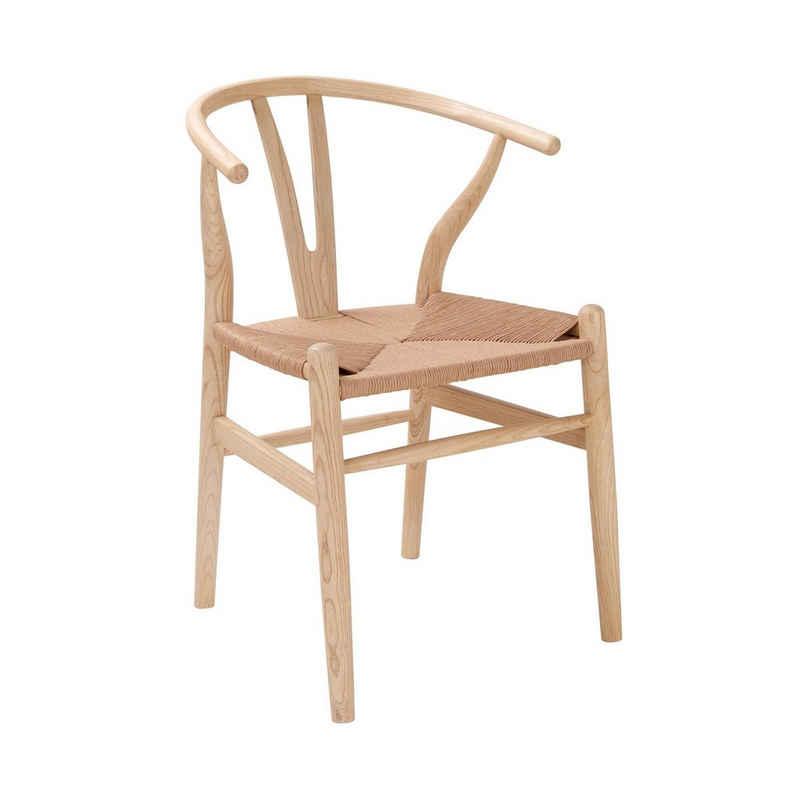 BUTLERS Stuhl »BRACKET Stuhl mit Raffia-Sitzfläche«