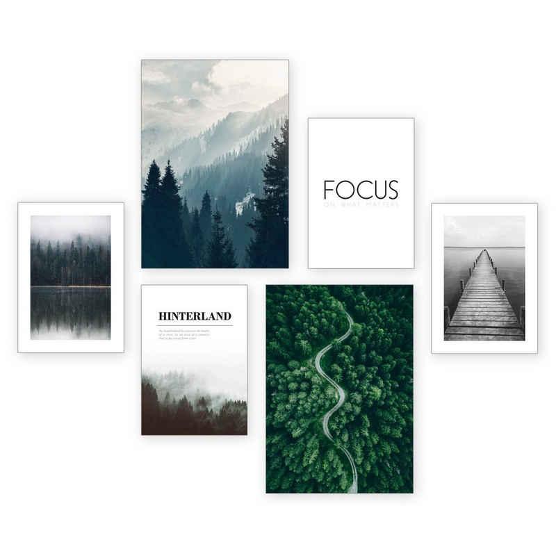Kreative Feder Poster, Natur, Landschaft, Wald, Fokus, See, Spruch (Set, 6 Stück), 6-teiliges Poster-Set, Kunstdruck, Wandbild, Posterwand, Bilderwand, optional mit Rahmen, WP503