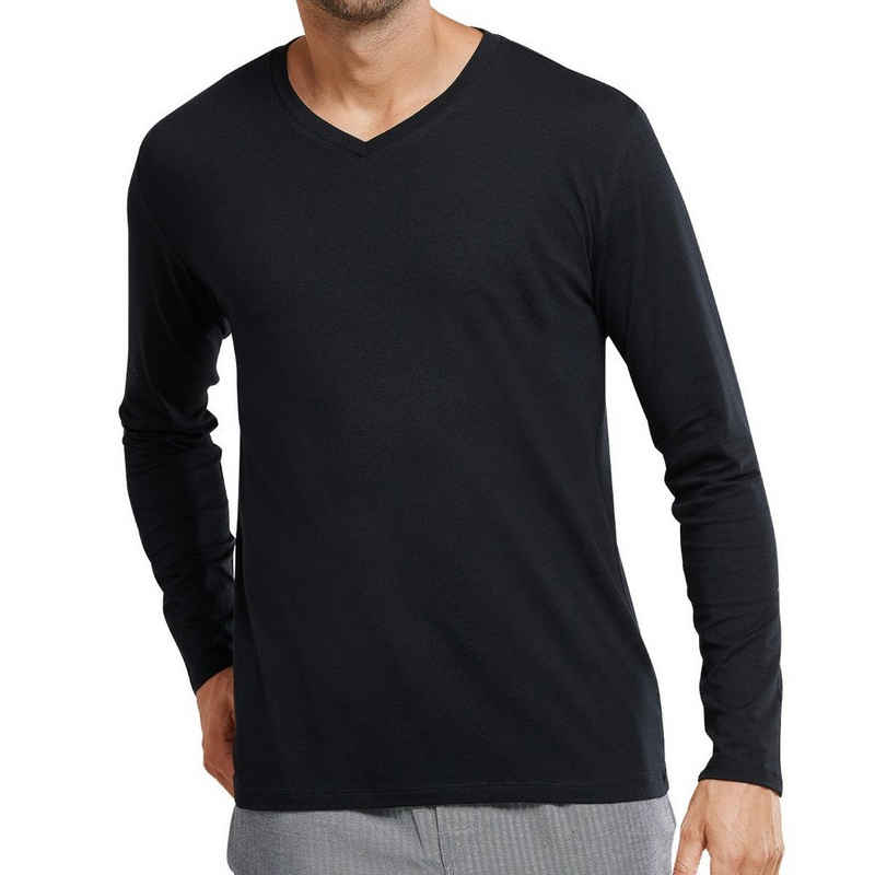 """Schiesser Pyjamaoberteil »Mix & Relax« Schlafanzug Shirt langarm - Aus der Schiesser-Serie """"Mix+Relax"""", Atmungsaktiv und besonders komfortabel, Mit V-Ausschnitt"""