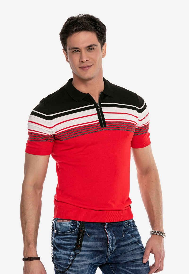 Cipo & Baxx Poloshirt mit mehrfarbigem Streifen-Design