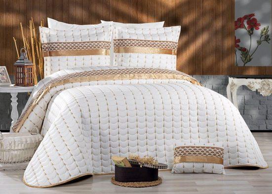 """Bettüberwurf »4-Teilige """"Colour"""" Premium Bettdeckenbezug Tagesdecke mit Koffer Bettüberwurf Kopfkissenbezug Baumwolledecke 250 x 260 cm«, ZELLERFELD"""
