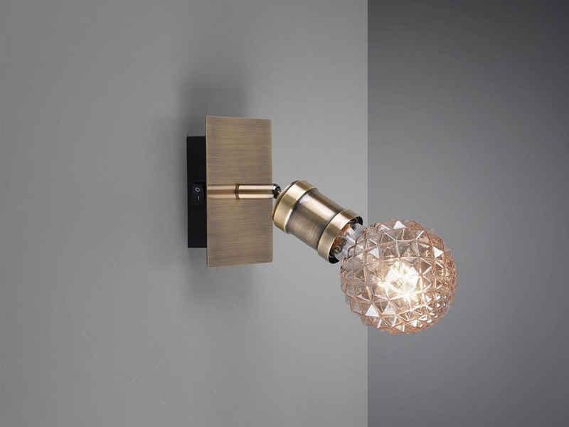 meineWunschleuchte LED Wandstrahler, innen, Retro Wand-Lampe Antik-Design in Alt-Messing einflammig, Ein/Aus Schalter, Spots schwenkbar, Treppenhaus, Lese-Lampe