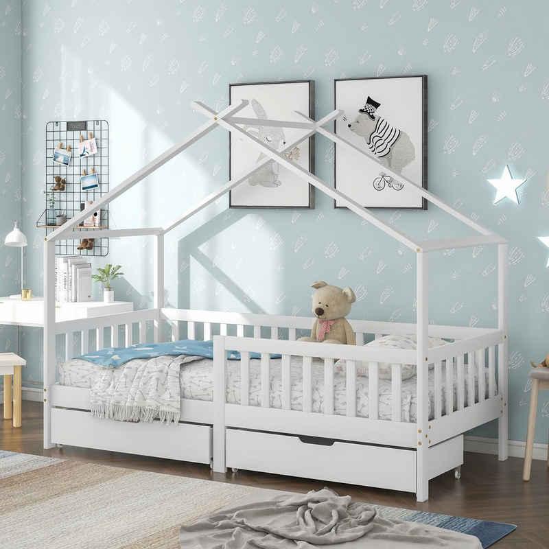 Merax Hausbett »Moon Kingdom«, Kinderbett Spielbett aus Kiefernholz 90 x 200 cm