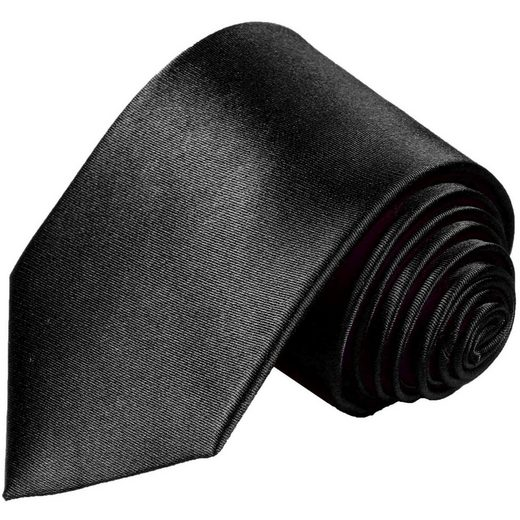 Paul Malone Krawatte »Herren Seidenkrawatte Schlips modern uni satin 100% Seide« Schmal (6cm), schwarz 952