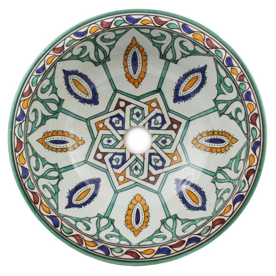 Casa Moro Aufsatzwaschbecken »Orientalisches Keramik Waschbecken Fes20 Ø 20  cm handbemalt, Marokkanisches Handwaschbecken für Küche Badezimmer ...