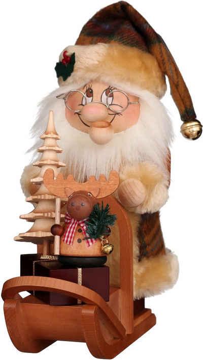 Albin Preissler Räuchermännchen »Wichtel Weihnachtsmann mit Schlitten«, Original Erzgebirge Holzkunst, inklusive Räucherkerzen