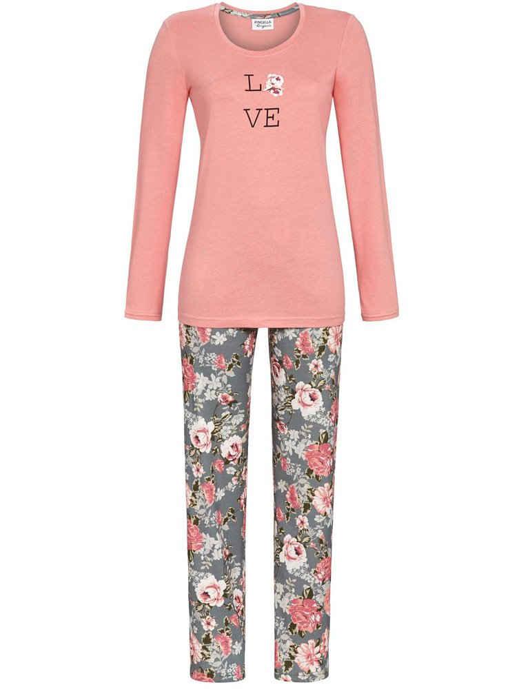 Ringella Pyjama »Damen Langarm Schlafanzug Love, 1561214 - Rosé / Grau«