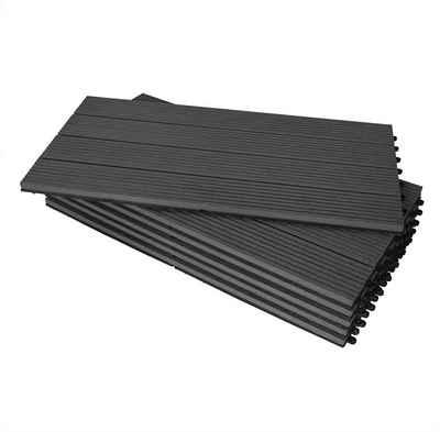 Woltu WPC-Fliesen, WPC Terrassenfliesen Terrassendielen Holz-Optik 30x60cm, Fliese Bodenfliese Klickfliese mit klicksystem Bodenbelag (12 Stück / 2 m)