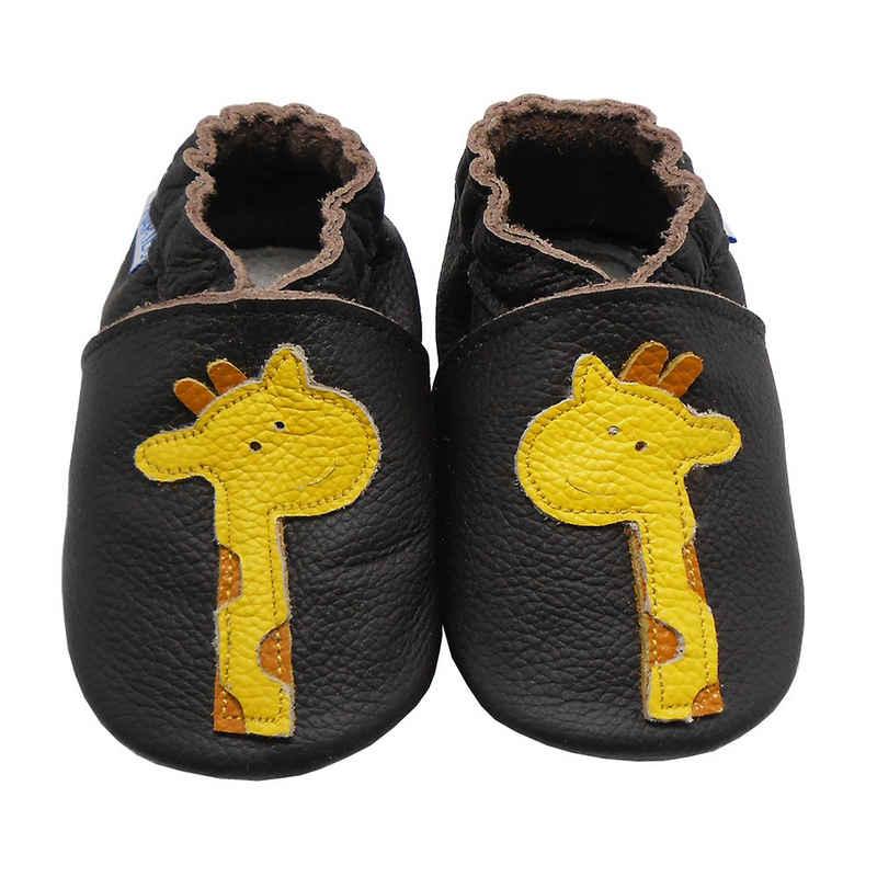 Yalion »Weiche Leder Lauflernschuhe Hausschuhe Lederpuschen Giraffe Schwarz 100% Leder« Krabbelschuh
