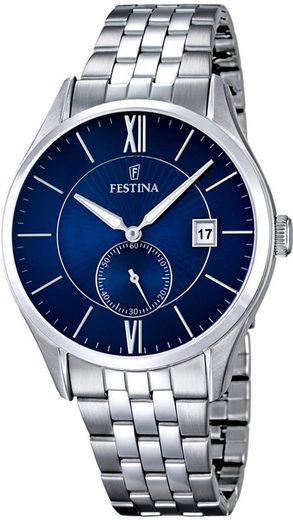 Festina Quarzuhr »UF16871/3 Festina Herren Uhr F16871/3 Edelstahl«, (Analoguhr), Herren Armbanduhr rund, Edelstahlarmband silber