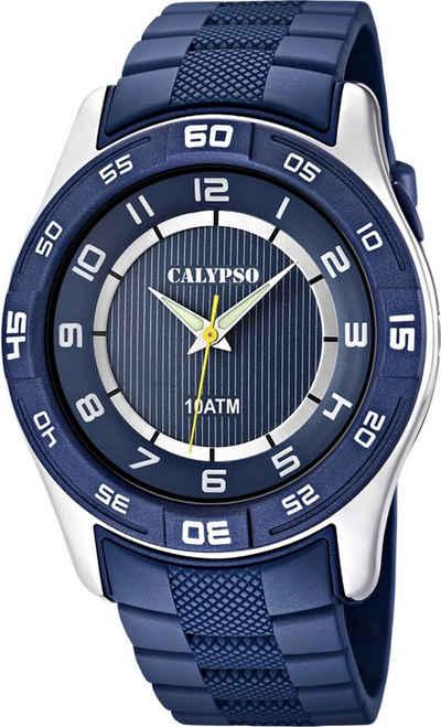 CALYPSO WATCHES Quarzuhr »UK6062/2 Calypso Herren Uhr K6062/2«, (Analoguhr), Herren Armbanduhr rund, Kautschukarmband blau, Outdoor