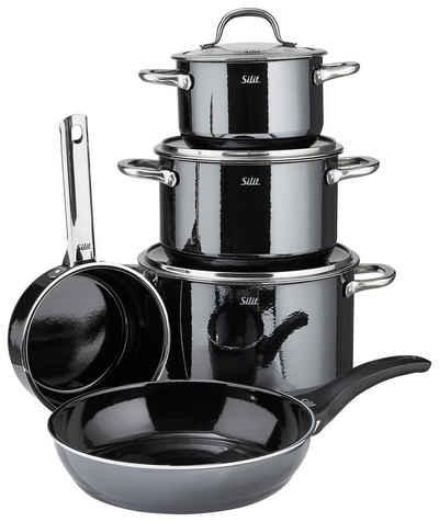 Silit Topf-Set »PASSION BLACK«, Silargan®, (8 Teilig, 3 x Topf, 1 x Stielkasserolle, 1 x Pfanne, 3 x Deckel)