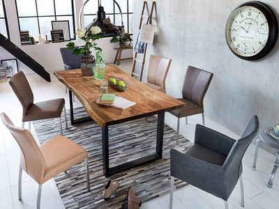 Junado® Baumkantentisch »Tops&Tables«, Akazie Massivholz nussbaumfarben 26mm natürliche Baumkante