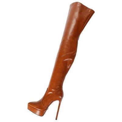 Giaro »Giaro SPIRE Braun Stiefel Kniestiefel Lederstiefel Overknees Overkneestiefel« Overkneestiefel Vegan