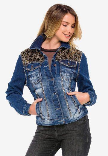 Cipo & Baxx Jeansjacke mit stylischen Leoelementen