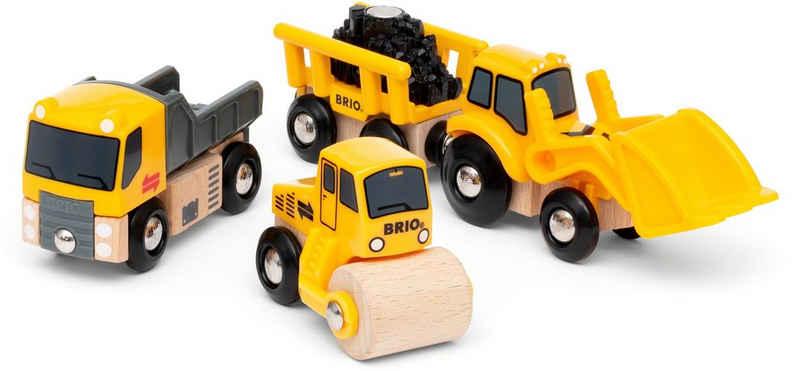 BRIO® Spielzeug-Eisenbahn »Baustellenfahrzeuge«, (Set, 3-tlg), mit Kipper, Walze und Bagger mit Anhänger für die BRIO Spielzeug-Eisenbahn; FSC® - schützt Wald - weltweit