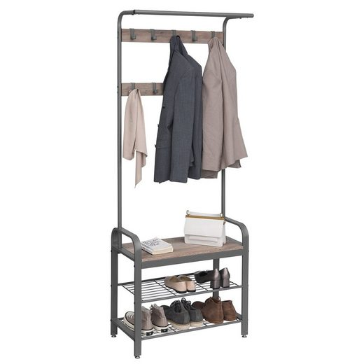 VASAGLE Garderobenständer »HSR40B HSR40MG«, Garderobe, Schuhregal, greige-schwarz
