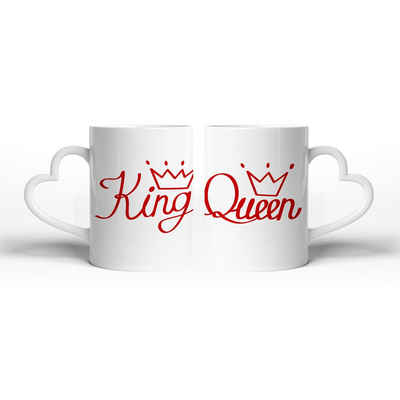 Kreative Feder Tasse »King & Queen«, Keramik, Tasse mit herzförmigem Henkel, Keramiktasse, fasst ca. 300ml, Kaffe, Tee, Liebe, Herz, Ehe, Hochzeit, Valentinstag