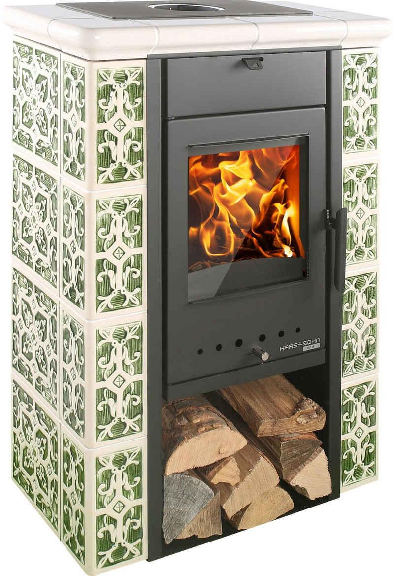 Haas + Sohn Kaminofen »TIROL343.15 s/g/w«, 6 kW, Zeitbrand, (1-tlg), Keramik grün/weiss