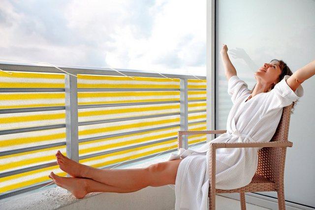 Floracord Balkonverkleidung Gelb-Weiß 500 cm x 90 cm