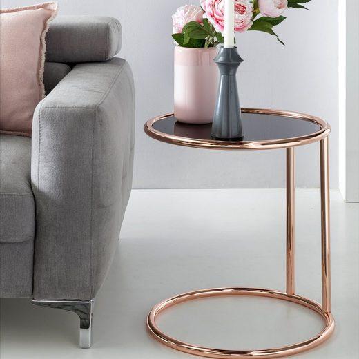 FINEBUY Couchtisch »SuVa10596_1«, Design Couchtisch ø 45 cm Rund Glas Lounge Beistelltisch verspiegelt Moderner Wohnzimmertisch Glastisch Sofatisch Tisch für Wohnzimmer