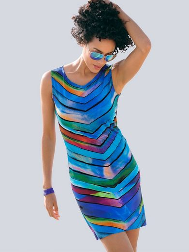 Alba Moda Gestreiftes Strandkleid in Etuiform