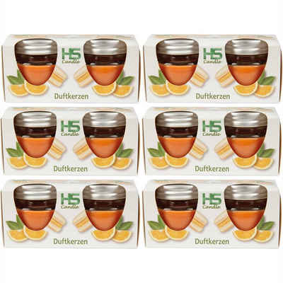 "HS Candle Duftkerze (12-tlg), Kerze im Glas ""Macaron"" mit Deckel, 12er Pack mit je ca. 7 Std. Brenndauer, Höhe: 5cm, Ø6cm"