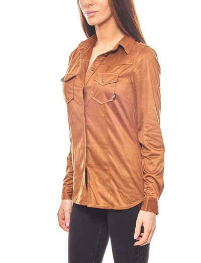 Arizona Blusentop »ARIZONA schlichte Shirt Hemd-Bluse Wildleder-Optik Braun«