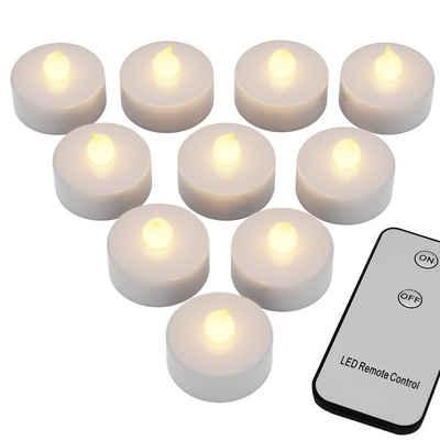 monzana LED-Kerze, 10 LED Teelichter mit Fernbedienung Flackernde Batteriebetriebene Kerzen inkl. Batterie Warmweiß 3,7cm Elektrisch