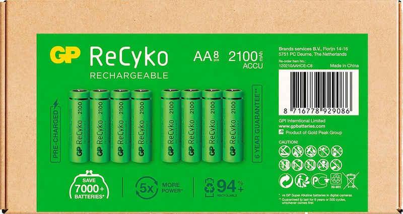 GP Batteries »AA Akku NiMH 2100 mAh ReCyko 1,2V 8 Stück« Akku Mignon 2100 mAh