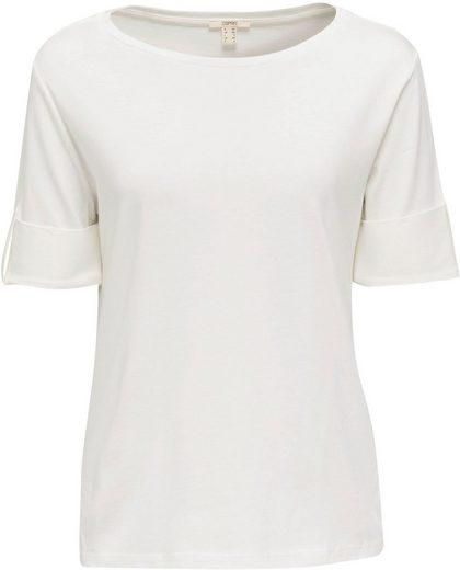 Esprit Kurzarmshirt mit Aufschlag und Riegel am Ärmel