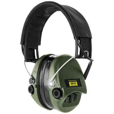 Sordin Kapselgehörschutz »Supreme Pro X«, Lederband, Gelkissen & grünen Kapseln