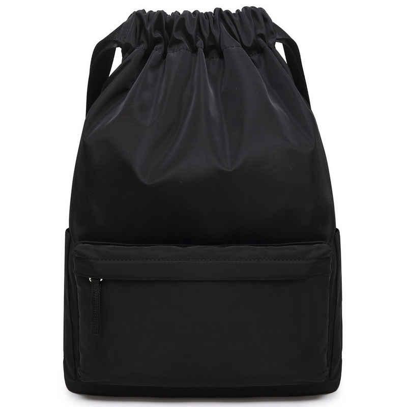 TAN.TOMI Sporttasche »Turnbeutel mit Kordelzug Sportbeutel mit Reißverschlusstaschen Innen Sportrucksack mit Reißverschluss-Vordertasche«