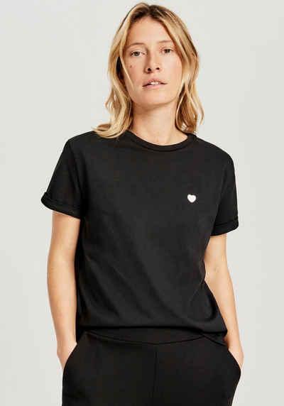 OPUS T-Shirt »Serz« mit kleiner Herz-Stickerei