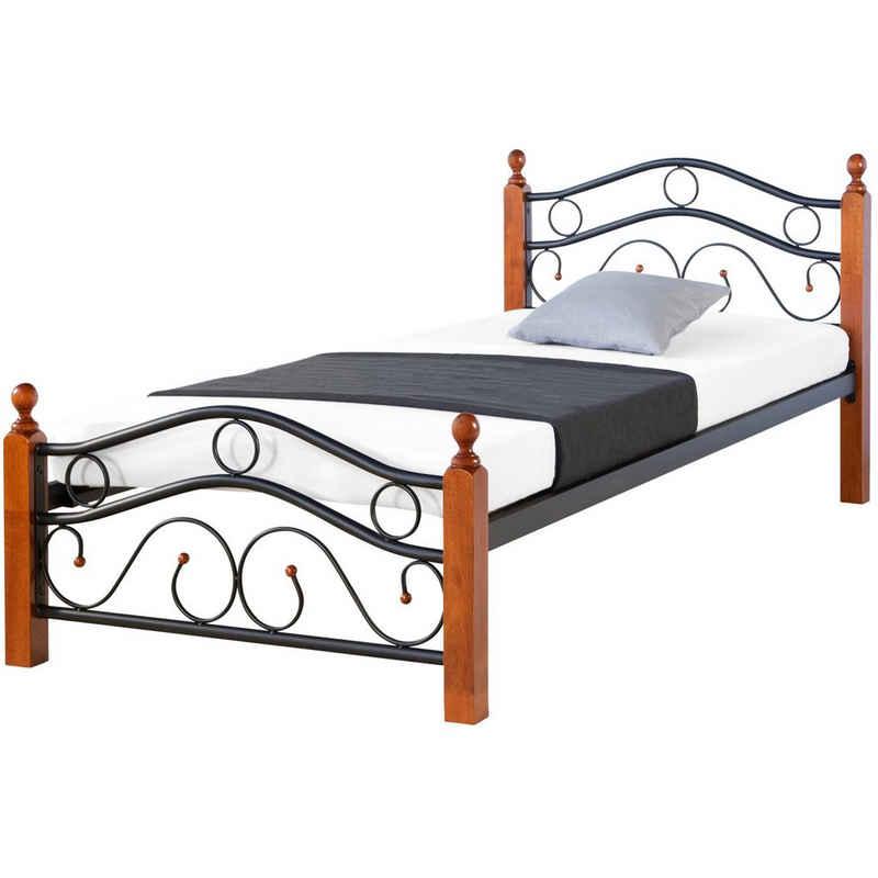 Homestyle4u Metallbett »Einzelbett 90x200 cm Bettgestell mit Lattenrost«