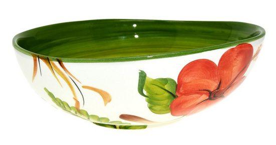 Lashuma Servierschale »Hibiskus«, Keramik, (1-tlg), Servierschüssel Bemalt, Obstschale Ø 20 cm